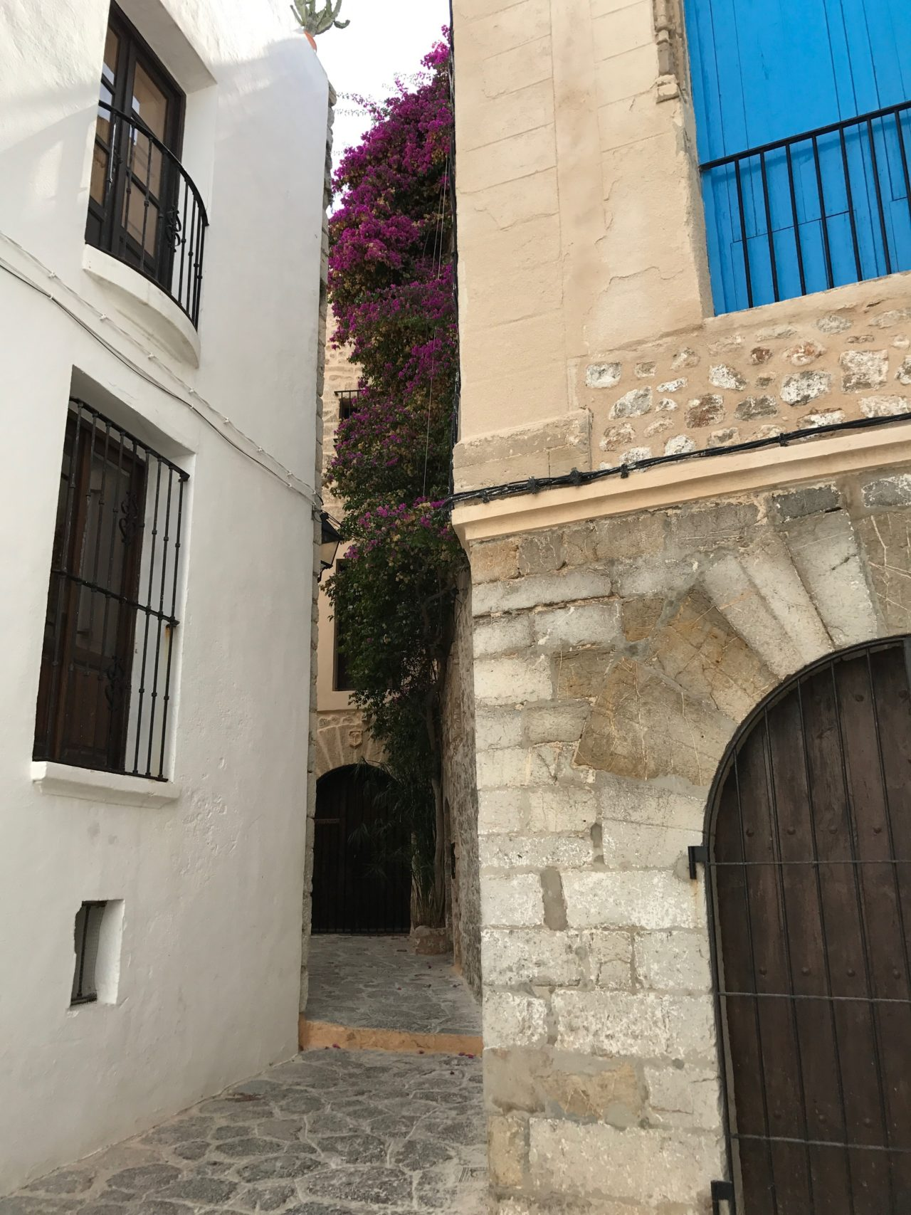 Narrow Stone House Alley Way With Windows And Doors