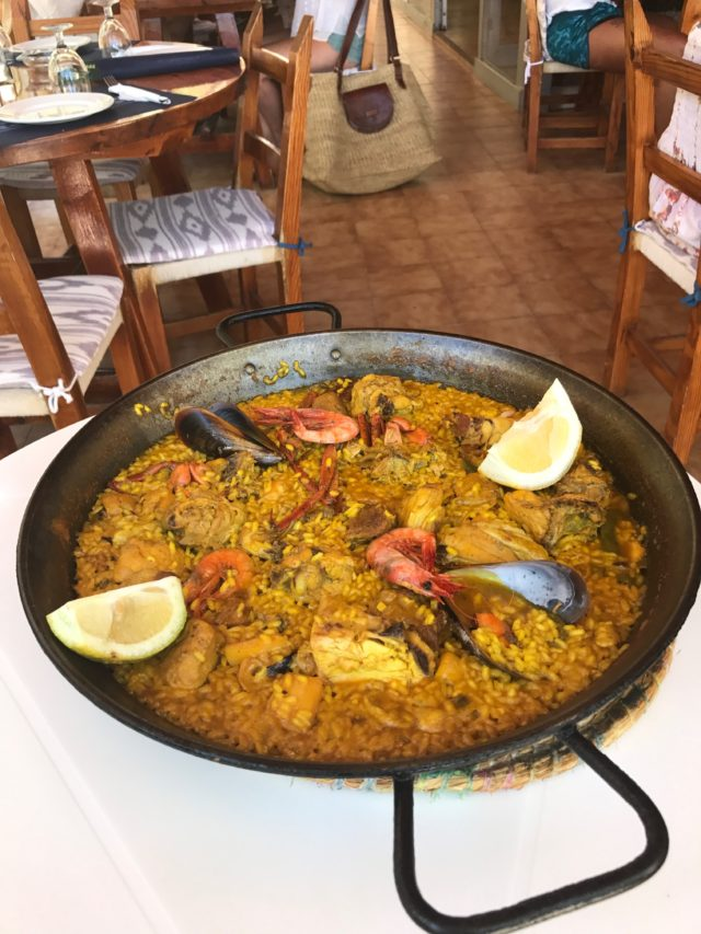Pan Of Paella At A Seafood Dinner Restaurant