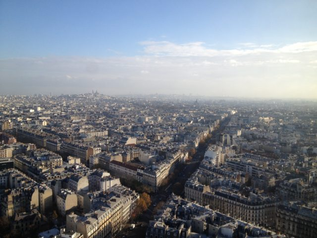 Paris Skyline With Streets And Houses In Smog
