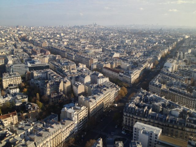 Paris City View With Streets And Buildings