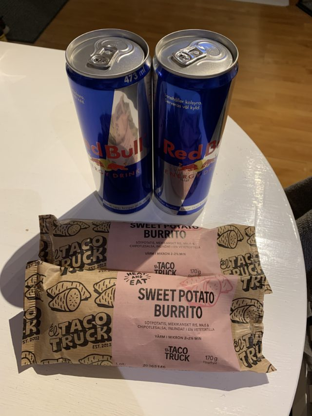 Red Bull And Sweet Potato Burrito Packages