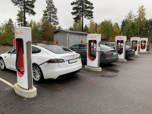 Tesla Model S Cars At A Charging Station